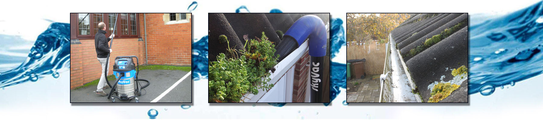 Gutter clearing with Skyvac